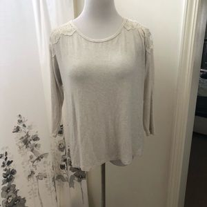 Cream shirt with lace back